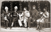Mohammad Yaqub Khan with British officers, May 1879