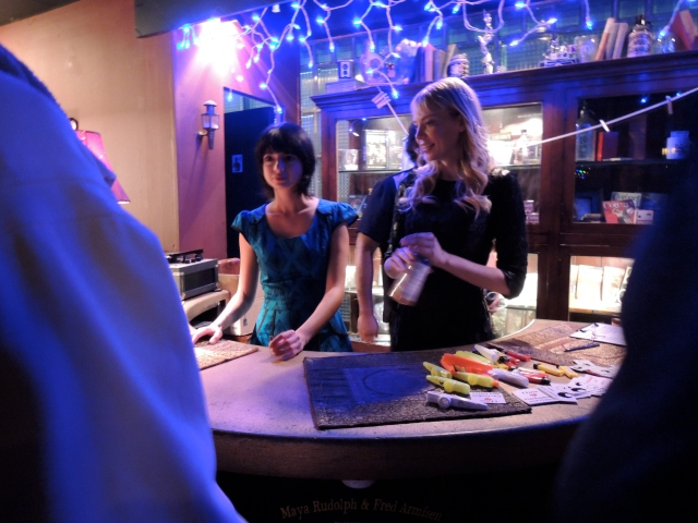 Garfunkel and Oates at merch table