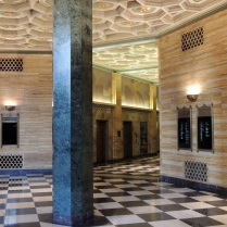 The black and white checkerboard floor is a common Art Deco motif.
