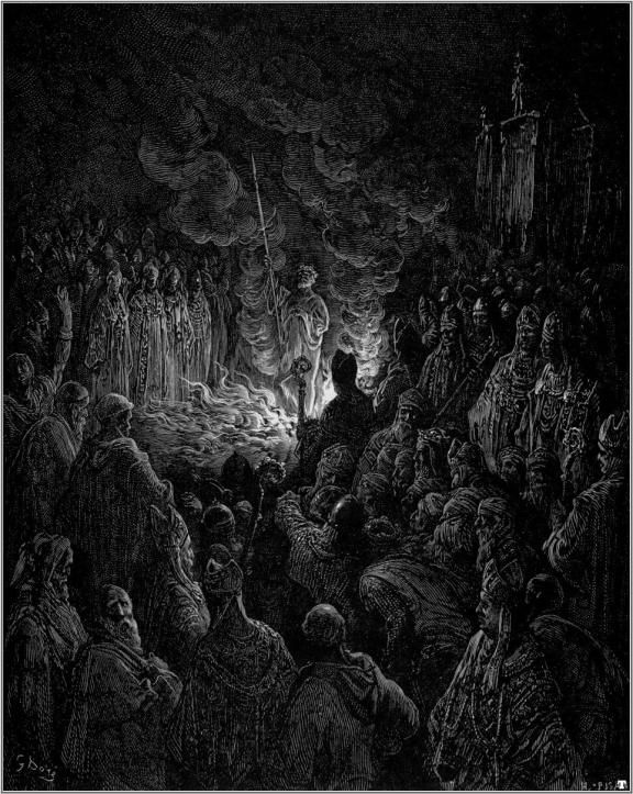 Barthelemi Undergoing the Ordeal of Fire, by Gustave Doré.