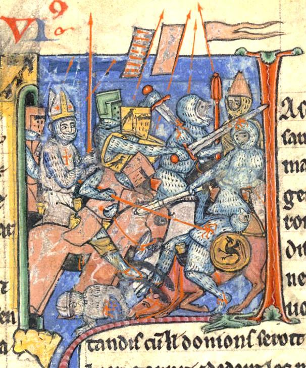 Detail of battle scene outside Antioch, c. 1098 from Estoire d'Outremer by William of Tyre, the British Library