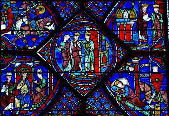 Detail from the Charlemagne window at Chartres.