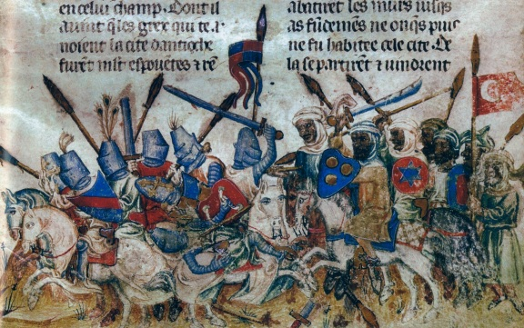 European Crusaders battle Muslim troops, from a French manuscript, c. 1200