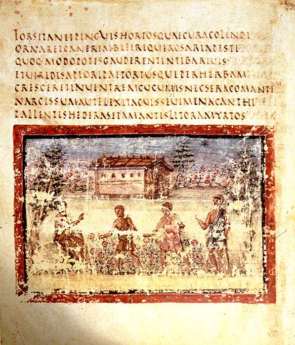 A page from the Vergilius Vaticanus, a pagan work written in Roman Rustic script