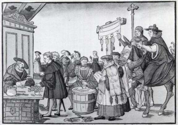 The sale of indulgences shown in A Question to a Mintmaker, woodcut by Jörg Breu the Elder of Augsburg, circa 1530.