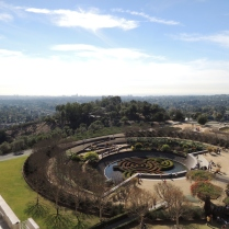 Before we get to the courtyard, here's the view looking west. That's the museum's highly refined garden, with Brentwood and the Pacific Ocean in the background.