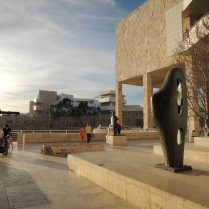 The structure on the right is the main exhibition hall with the Getty Research Institute complex in the background.