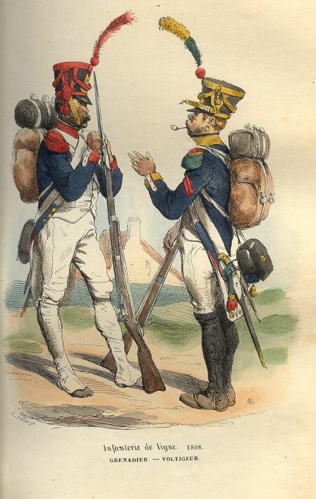 French grenadier and voltigeur of 1808. From P.-M. Laurent de L`Ardeche's «Histoire de Napoleon», 1843