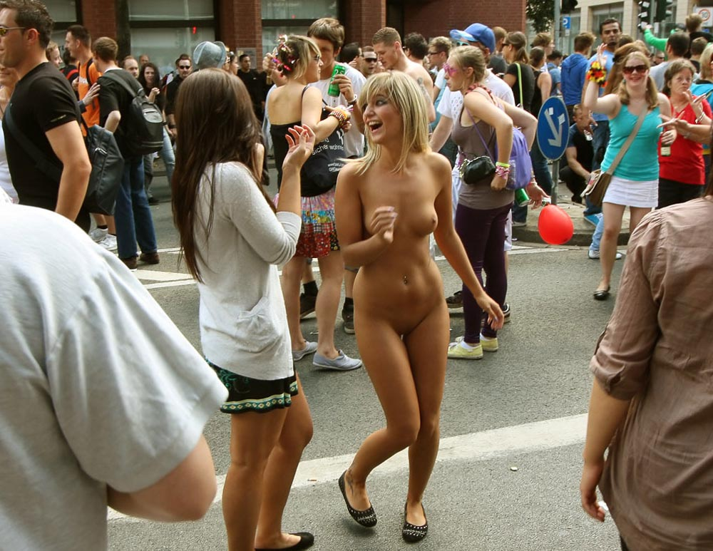 Naked Girl Walking In The Street