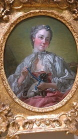 François Boucher, A Young Lady Holding A Pug Dog, mid 1740s