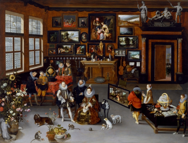 Jan_Brueghel_the_Elder_-_The_Archdukes_Albert_and_Isabella_Visiting_a_Collector's_Cabinet_-_Walters_372010