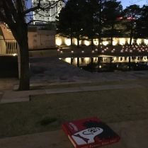 We took the pizza back to the memorial hoping to find the guard and give him a piece, but he was gone.