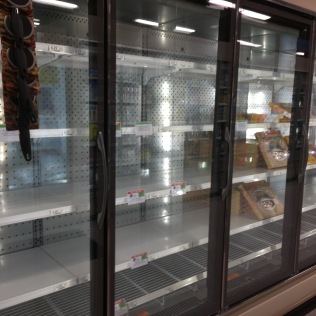 Like every other grocery store, the frozen food had been ransacked.